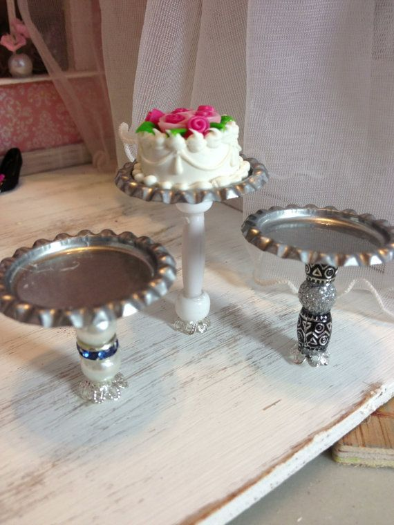 Mini cake stands miniature dollhouse accessories roombox wedding