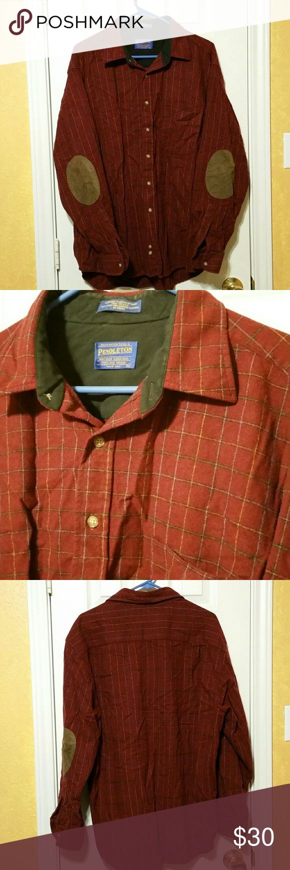 Pendleton 100% Wool button up Mens XL Great condition Men's XL Pendleton wool button up with elbow patches. Beautiful maroon plaid with extra buttons still attached. Doesn't look like it was worn much if at all! Pendleton Shirts Casual Button Down Shirts