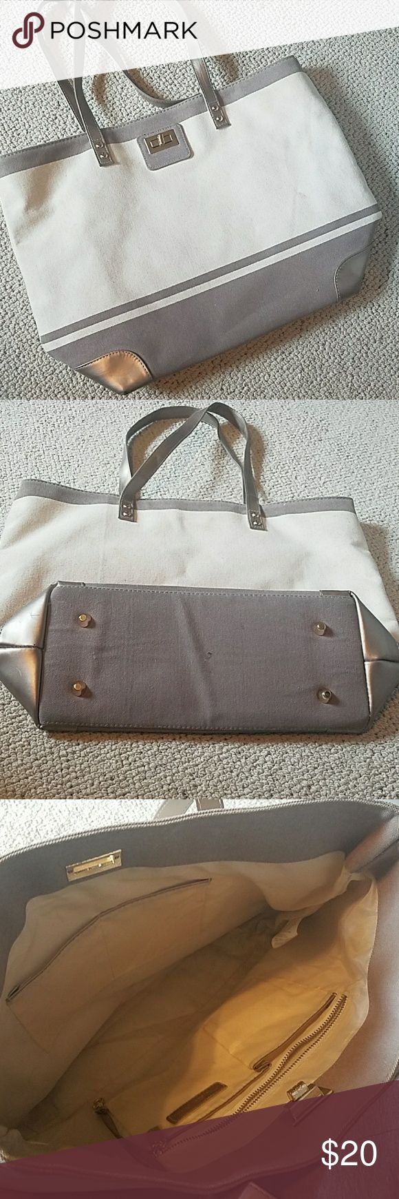 Thursday Friday Tote-Antler Thursday Friday camvas tote. Brown amd cream with champagne accents.  See pics for wear. Approx 16x12x6. Bags Totes