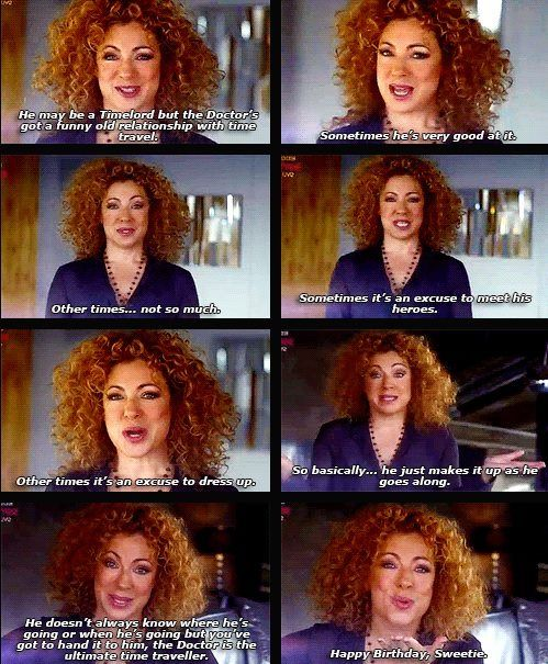 Alex talking about the Doctor & time travel.