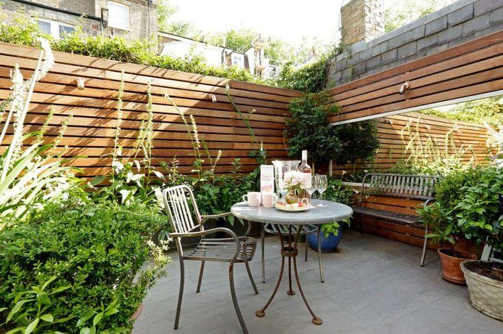 Modern garden with mirror