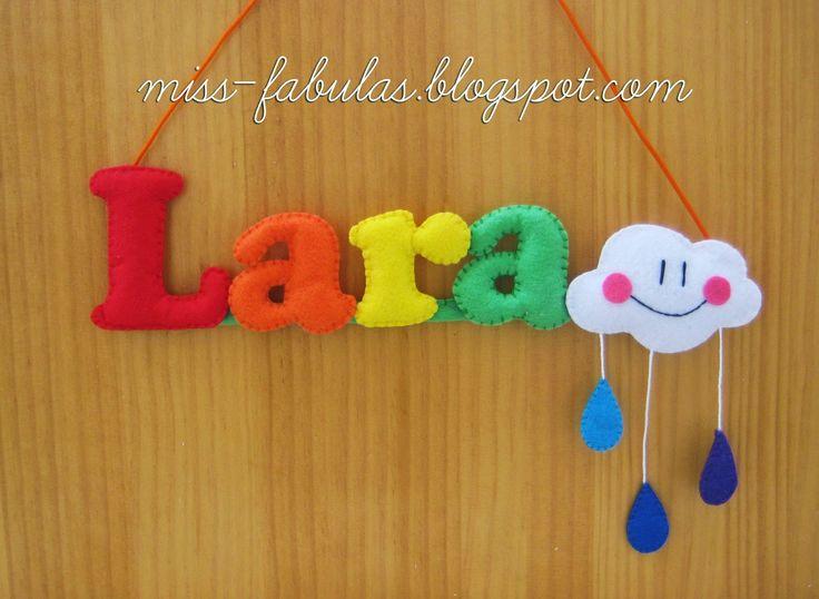 Baby name felt rainbow, cloud and drops of water - Nombre bebe con arco iris, nube y gotitas de lluvia en fieltro