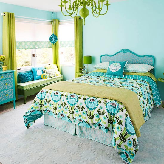 I love everything about this - the colors the chandler - this would be a great spare room in my dream home.   Take an old wood headboard and add a little wallpaper and paint for a new and fresh look.