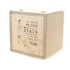 Thank you Mum Box £12.00  Only 1 remaining East Of Inda Wooden Box Thank You Mum With words 'You tickled my toes Showed me the stars ad taught me how to reach them thank you Mum' Ideal For Storing Bit and Bobs Size 14 x 14 x 13 cm Colours: Neutral/Cream dot trim, Red/Cream dot trim AVAILABLE AT: http://www.shopfestmarketplace.co.uk/store/product/thank-you-mum-box