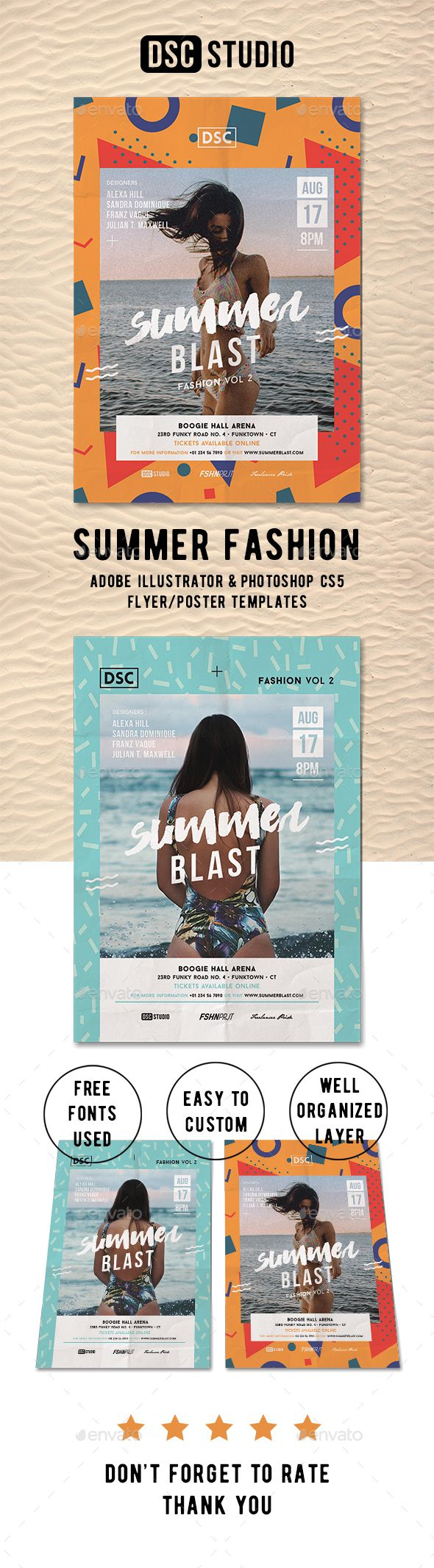Summer Fashion Flyer Template PSD, AI Illustrator. Download here: https://graphicriver.net/item/summer-fashion-flyer/17348034?ref=ksioks