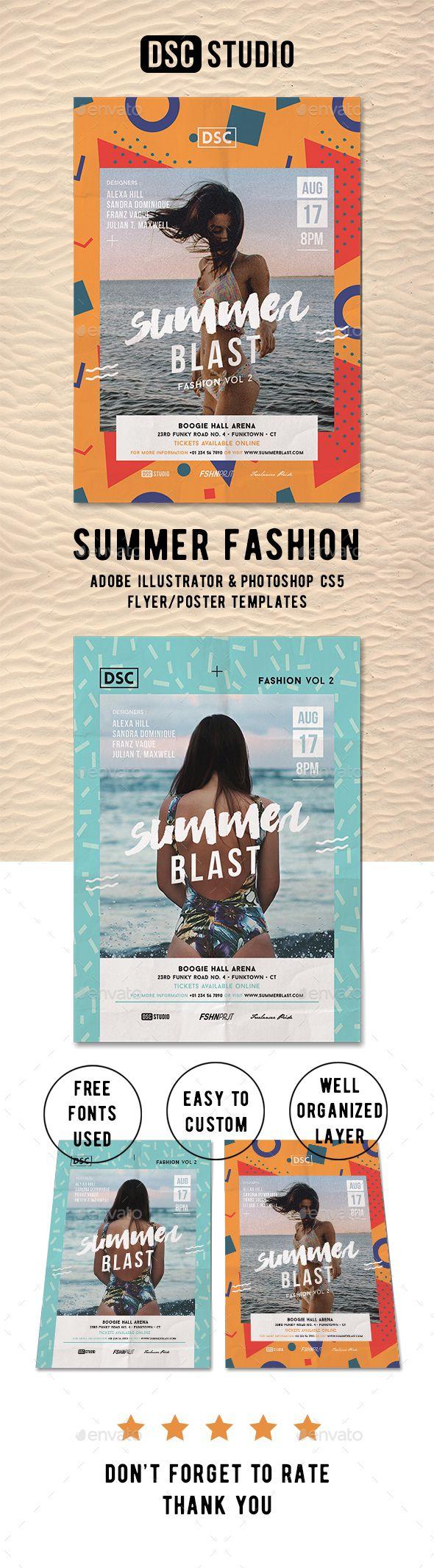 Summer Fashion Flyer Template PSD, AI Illustrator. Download here: https://graphicriver.net/item/summer-fashion-flyer/17348034?ref=ksioks