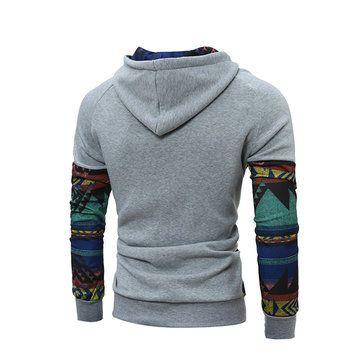 Personality Retro Stitching Hoodie Mens Casual Raglan Sleeve Hoodie Pullover at Banggood