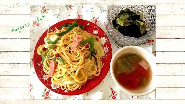 わかめの酢の物 よく食べてます はまってます( •ॢ◡-ॢ)-♡ - 9件のもぐもぐ - ペペロンチーノ トマトスープ わかめの酢の物 by MISATO♡