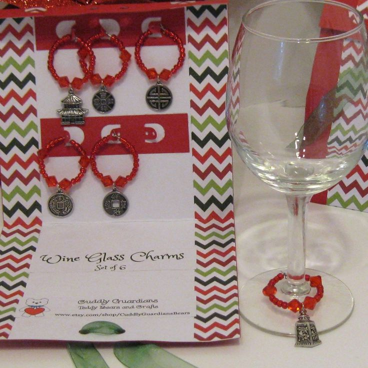 Asian Theme Wine Glass Charms / Wine Glass Markers Gift Set by CuddlyGuardiansBears on Etsy