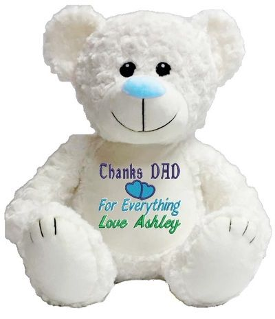 Personalised Message Bear - White Bear Blue Nose Snugabudz