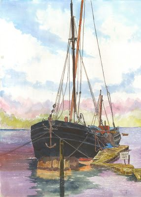 """The Art of Phil Davis:  """"Thames Barge""""Ink pigment on Acrylic paper.16"""" x ..."""
