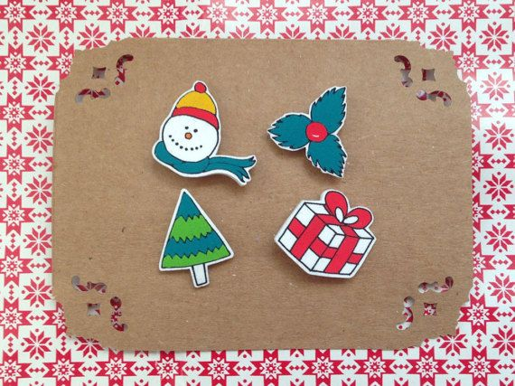 Christmas  New Year Themed Collar Pins II  4 Piece by HappyMarker