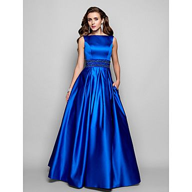 Formal Evening/Prom/Military Ball Dress - Royal Blue Plus Sizes Ball Gown/A-line Bateau Floor-length Satin – CAD $ 152.89