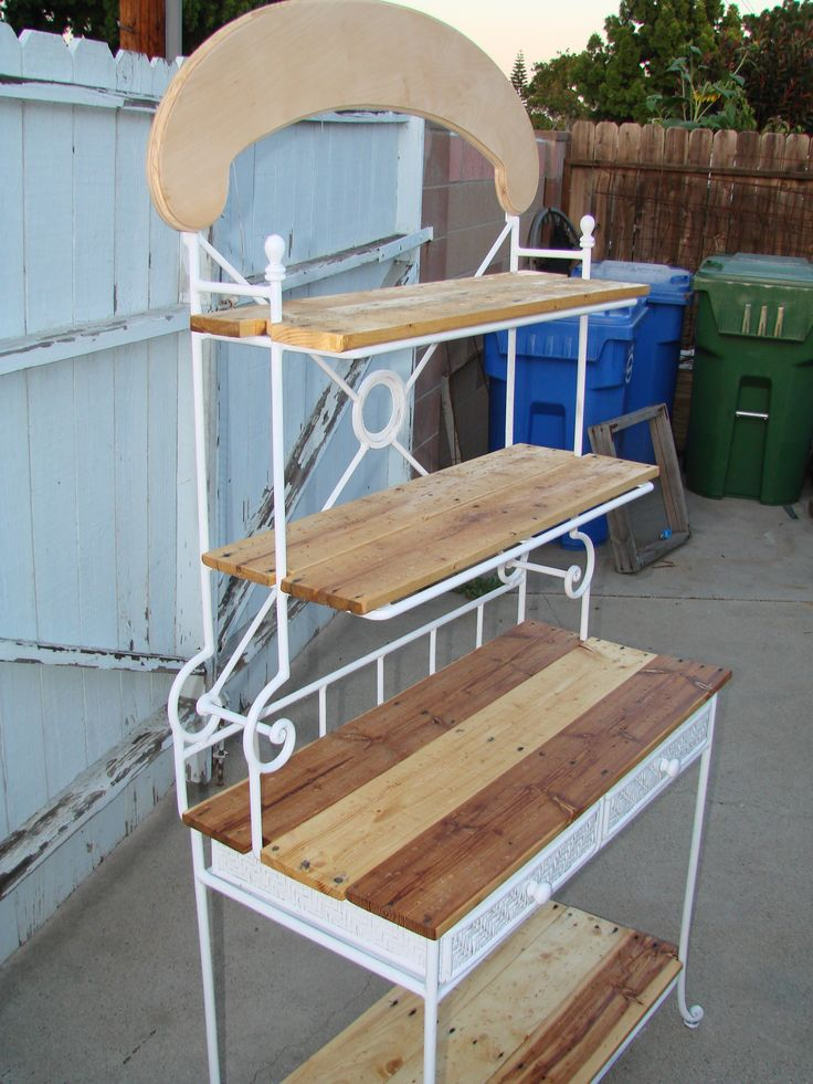 $5.00 Yard Sale Bakers Rack refurbished using pallet wood shelves. See it completed and decorated in person at Victorian Lane Bed & Breakfast