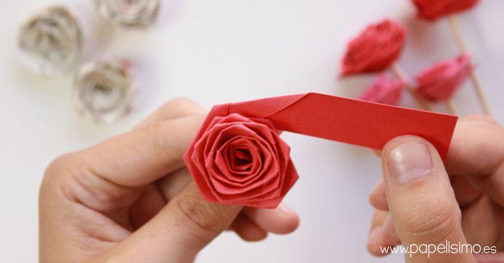 Como hacer rosas con tira de papel paper quilling rose - Como hacer manualidades de papel ...
