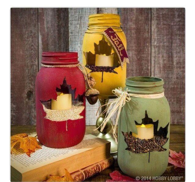 Diy Maple Leaf Mason Jar #Home #Garden #Musely #Tip