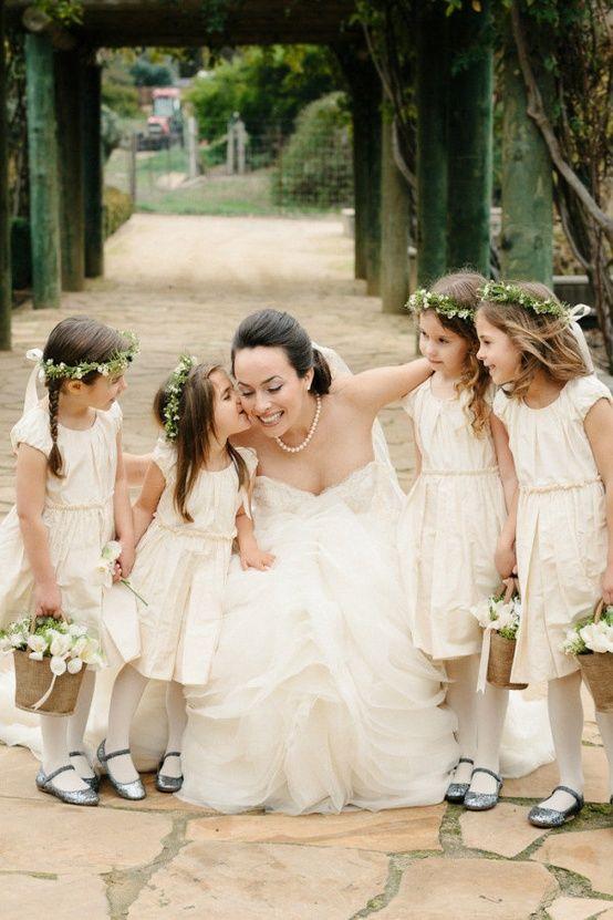 Flower girls with bride