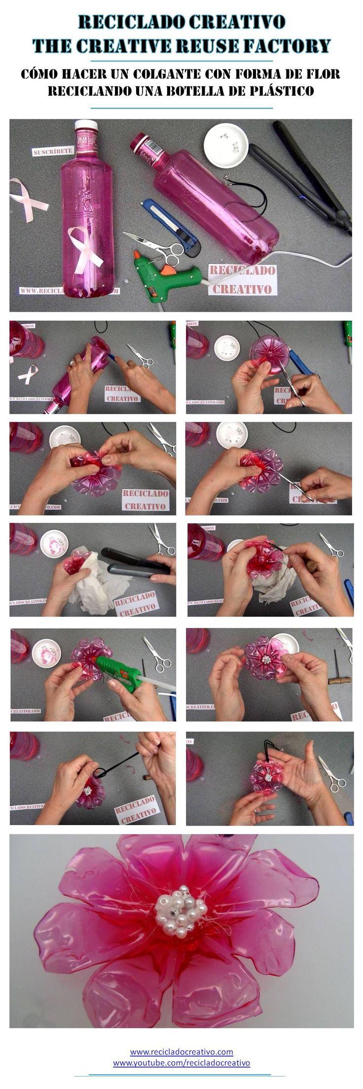 DIY  Cómo realizar un colgante con forma de flor con una botella de plástico reciclada https://www.youtube.com/watch?v=MPcL4LqvCzg