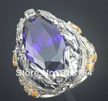 Very Large Lively Cute Six Fish Wholesale Jewelry Amethyst & Morganite Silver Plated Ring Size 6 / 7 / 8 NR4153