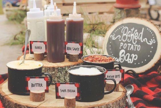 Baked potato bar from a Rustic Lumberjack Birthday Party on Kara's Party Ideas | KarasPartyIdeas.com (5)