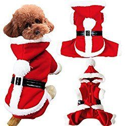 Pet Dog Puppy Teddy Christmas Clothes Santa Claus Costume Fancy Dress Fleece Cold Weather Winter Warm Hooded Sweater Jumpsuit Outfit Outwear Coat Jacket Xmas Apparel Gift for Small Dogs Puppy Cats,Red