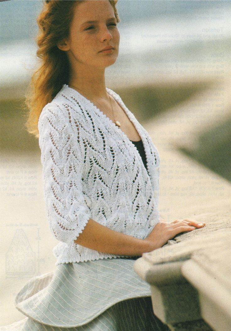 Womens Lace Cardigan PDF Knitting Pattern : Ladies 34 and 36 inch chest . Picot Edging . Cotton DK . Summer Cardi . Instant Download by PDFKnittingCrochet on Etsy