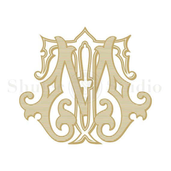 Custom Vintage Monogram   MT TM  Vintage Monogram  by ShulerStudio