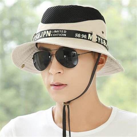 Mesh fishing bucket hat for men sun hats with string summer wear