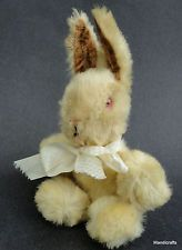 Shanghai Doll Factory Bunny Rabbit White Wool Plush 1950s 60s Pink Glass Eyes