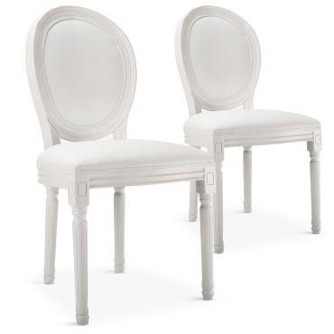 Lot de 2 chaises médaillon louis xvi simili (p.u) blanc - pas cher ? C'est sur Conforama.fr - large choix, prix discount et des offres exclusives MENZZO sur Conforama.fr