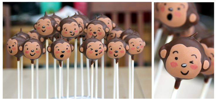 Monkey cake pops for a baby shower