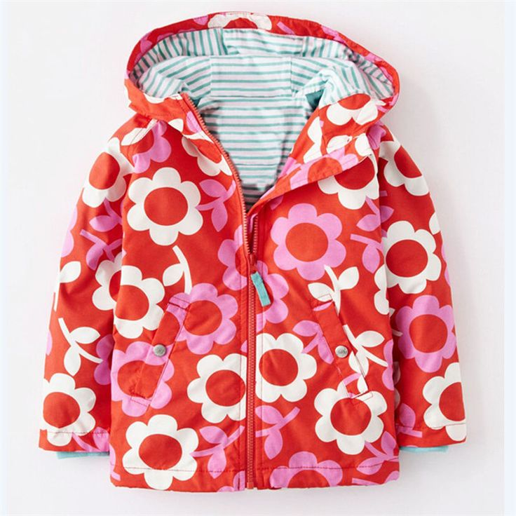 fashion 2016 New Baby Girls Coat Jacket Wind and Rain in Spring and Autumn Print Children Hooded Outerwear Clothes 0-6 yrs