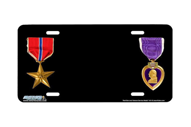 """Airstrike® 431-""""Red Star and Purple Heart Medal"""" Military Airbrushed License Plates"""