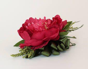 Baile o boda ramillete de flores de seda, Pin en Corsage o ramillete de la muñeca, caliente oscuro, rosa fucsia, Rosa peonía, flor Artificial