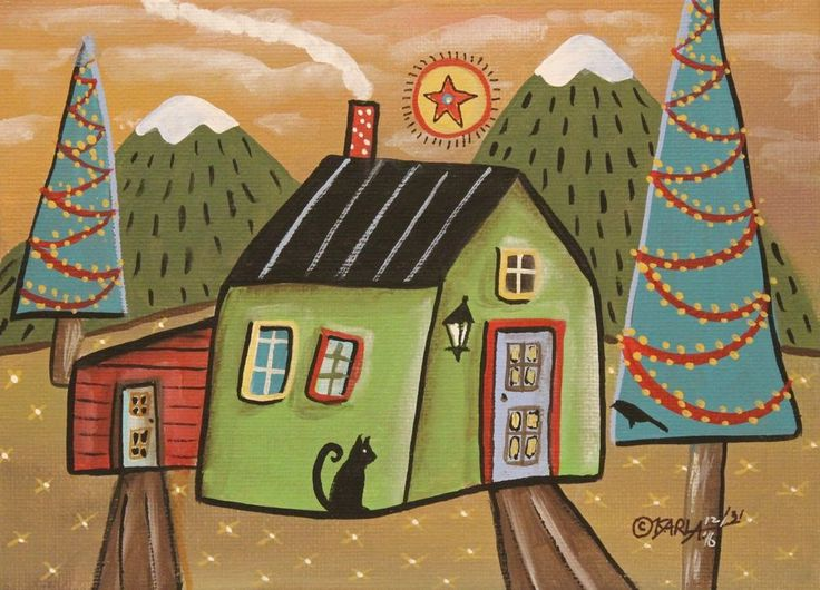 Snowy Peaks ORIGINAL Canvas Panel PAINTING Folk Art Prim 5 x 7 Karla Gerard #FolkArtAbstractPrimitive