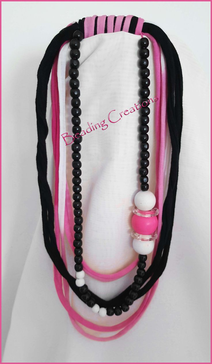 NEW HANDMADE ONE OF A KIND DESIGNER WOODEN BEADS AND T-SHIRT YARN NECKLACE IN PINK MIX AND MATCH, WHITE AND BLACK AVAILABLE FOR R85.00 AT: http://www.bidorbuy.co.za/seller/366992/Beadingcreations