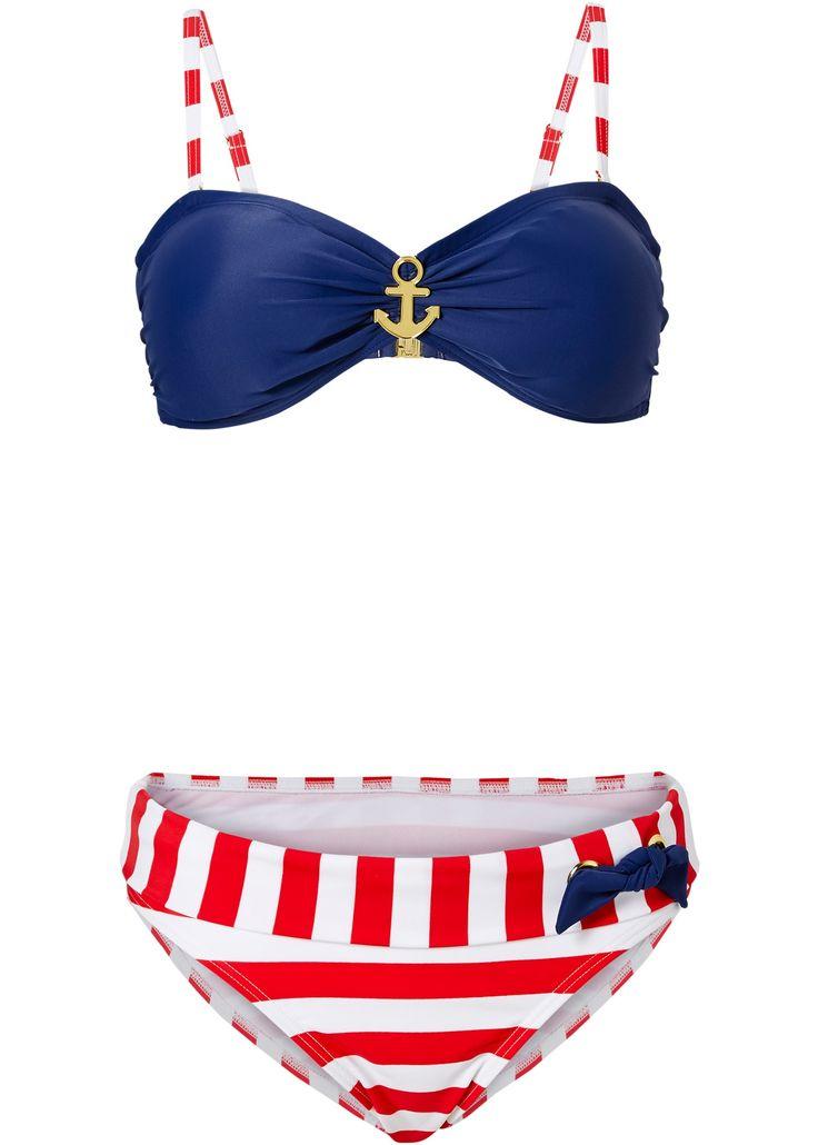 blau-rot-weißer Bandeau-Bikini mit goldfarbenem Anker zwischen den Cups. Mit verstell- und abnehmbaren Trägern. Hinten mit Klickverschluß zu schließen. Der Slip ist voll gefüttert und mit seitlichen Details verziert