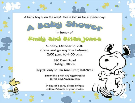 baby snoopy baby shower invitations