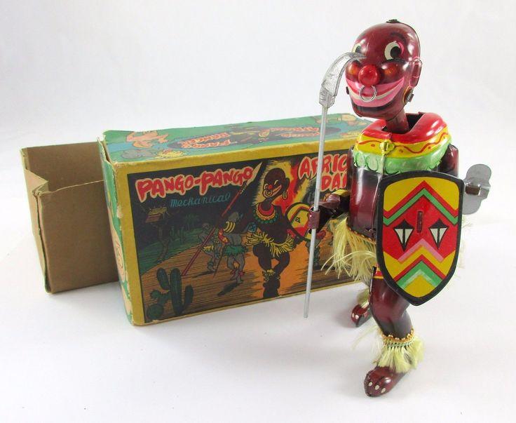 Vtg 1950 s Orig Tin Litho Wind-up Pango-Pango African Dancer w\ Box TPS Japan NR | eBay