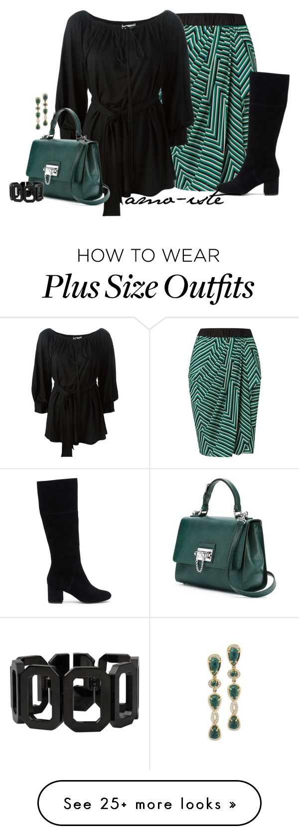 """Striped Skirt - Plus Size"" by amo-iste on Polyvore featuring Givenchy, Dolce&Gabbana, Rebecca and Sole Society"