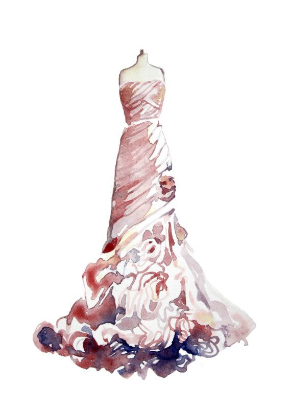 Pink Ruffled wedding dress watercolor painting by christy ...