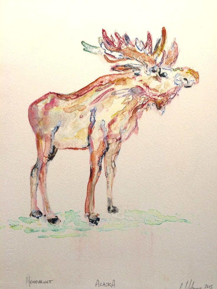 Alaska, 2015.  Unique watercolour screen print by Christine Morton.