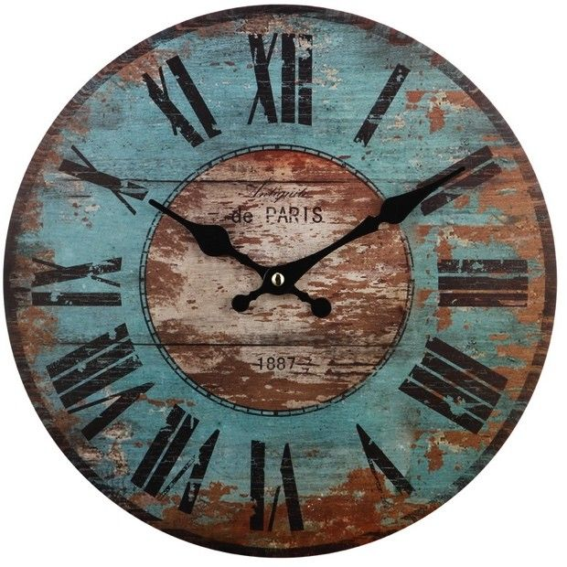 Paris Distressed Round Wall Clock