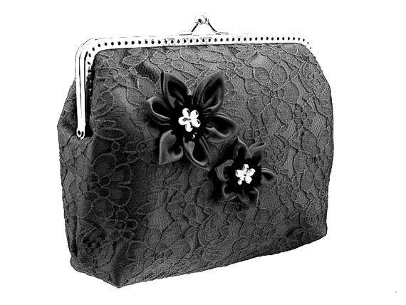 black lace handbag frame clutch bag goth black by FashionForWomen