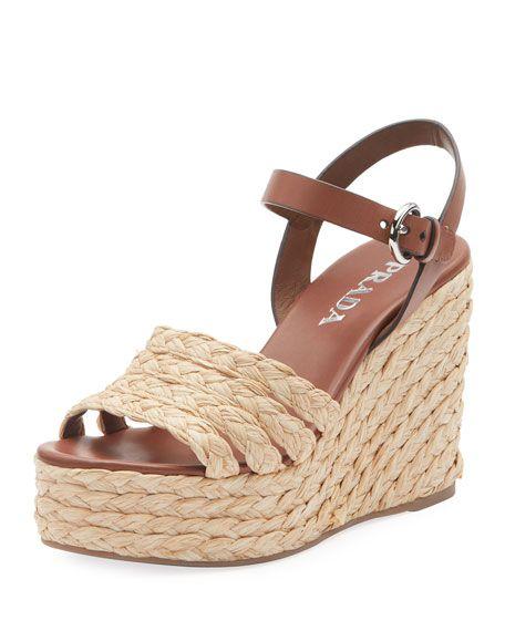 743df652704 Woven Raffia Platform Sandals by Prada at Neiman Marcus
