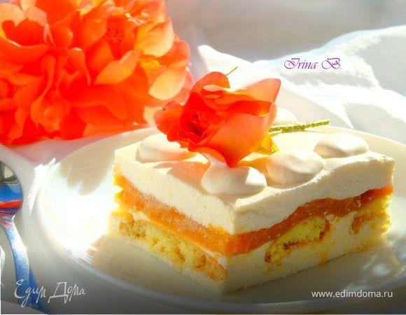 Десерт «Абрикосово-творожный». Ингредиенты: сахар, сметана, желатин