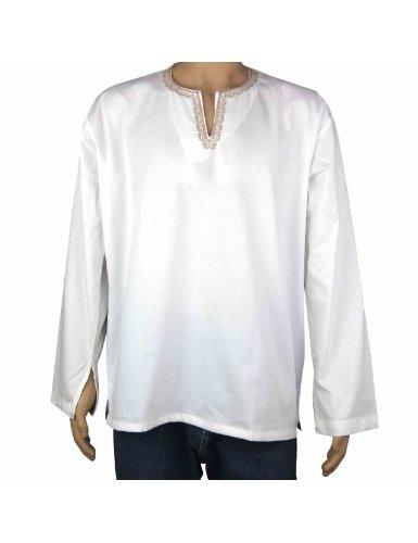 Kurta blanc en coton avec broderie au col motifs Paisley - Tenue indienne Homme - Tour de poitrine: 96,52 Cm: Amazon.fr: Vêtements et accessoires