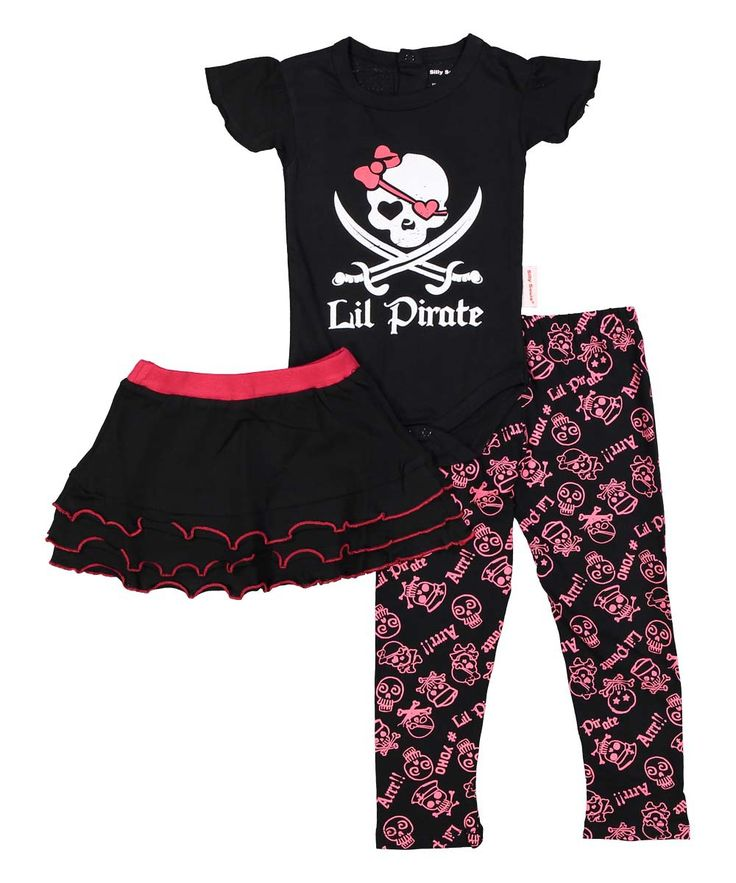 Lil' Pirate, infant onesie, skirt and legging set in pink, black and white…