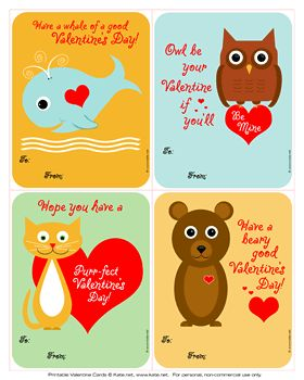 Animal Valentines | Kate.net.   For 50 more FREE #Valentine Printables, click the image.