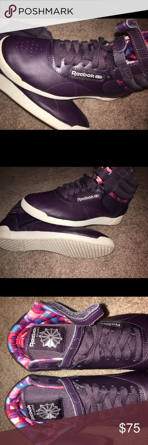 HTF Reebok Retro Classic Freestyle Purple Sneakers Excellent Condition! Worn once. (I went overboard and purchase these sneakers in every color). Reebok Retro Classic Freestyle Geo Graphic Purple High Top Sneakers. Size 7. Sneakers look brand new. Very comfortable. Graphic design on each shoe as seen in pictures. Very rare and Hard to Find Sneaker. #jordan #nike #kobe #kd #classic #curry #underarmour #lebron #sneakers #addidas #newbalance #athletic #fitness #michaelkors #lv #fashionnova…